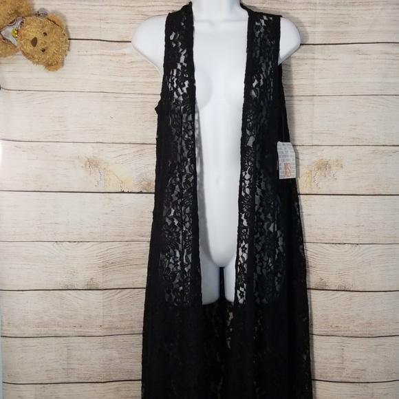 LuLaRoe Jackets & Blazers - LuLaRoe Joy Black Lace Duster Vest Sz  XS